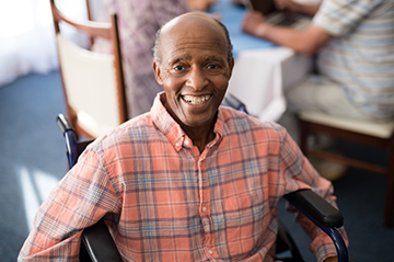 smiling senior with disabilities